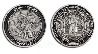 Teutonic Knights Geocoin - Antique Silver