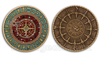 Time and Space Geocoin - blue bronze