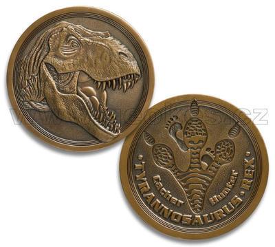 Tyrannosaurus Rex Geocoin - antique gold