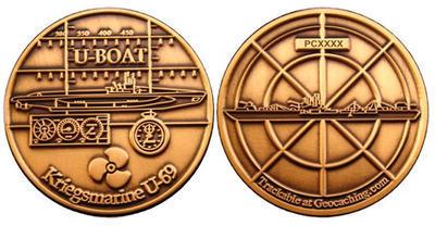 U-Boat Geocoin Antique Gold