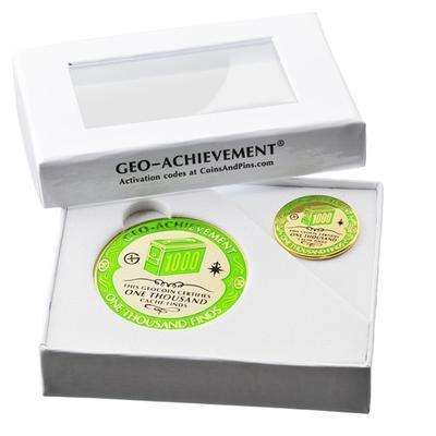 1000 Finds Geocoin + Pin + Box - 2
