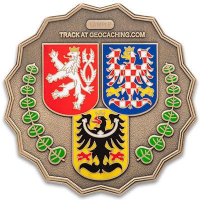 20 Years of Geocaching in Czech Republic Geocoin - Antique Bronze - 2