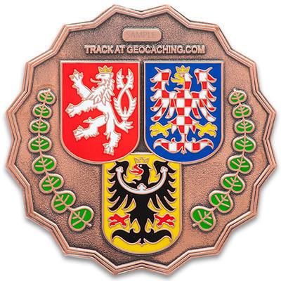 20 Years of Geocaching in Czech Republic Geocoin - LE Antique Copper - 2