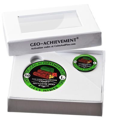 50 Hides Geocoin + Pin + Box - 2
