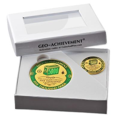 5000 Finds Geocoin + Pin + Box - 2