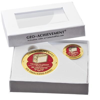 6000 Finds Geocoin + Pin + Box - 2