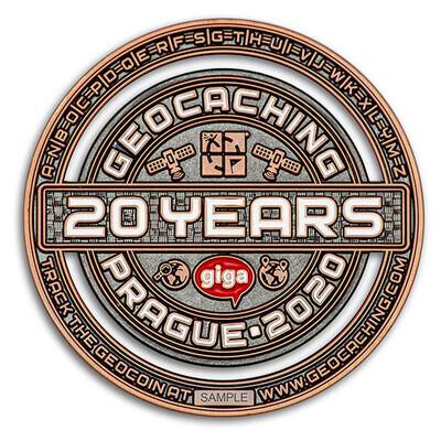 2020 GIGA Prague geocoin - Antique Copper - 2
