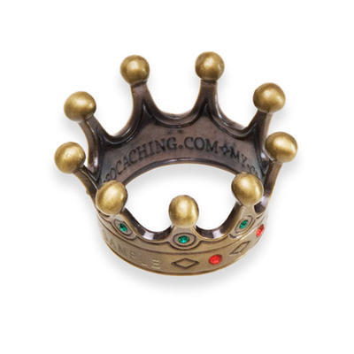 Countess' Crown Geocoin - Antique Gold with gemstones - 2