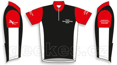Trackable cycling jersey - geocaching nick - 2