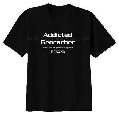 Addicted Geocacher trackable t-shirt - 2