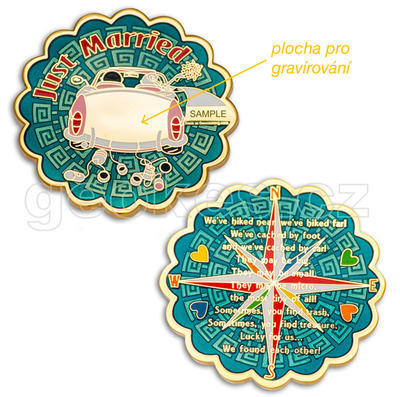 Just Married Geocoin - Gold - 2