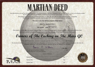 Caching on the Mars Geocoin Antique Gold - 2