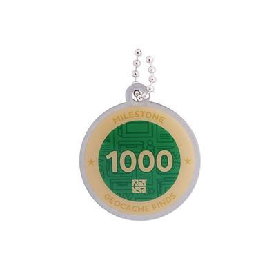 1.000 Finds Milestone Geocoin and Tag Set - 2