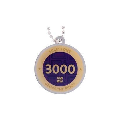 3.000 Finds Milestone Geocoin and Tag Set - 2