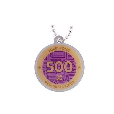 500 Finds Milestone Geocoin and Tag Set - 2