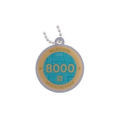8.000 Finds Milestone Geocoin and Tag Set - 2