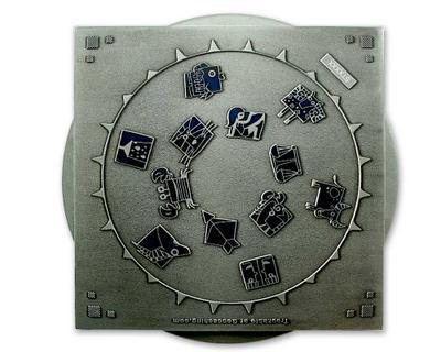 Star Map XXXXL Geocoin Antique Silver - 2
