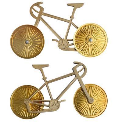 Bicycle geocoin - Two Tone Satin Nickel Bike Gold Wheels - 3