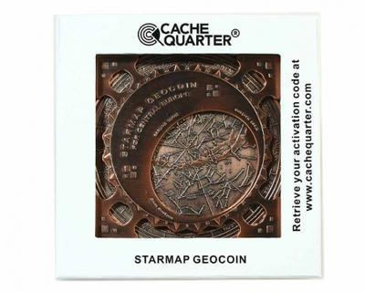 Star Map XXXXL Geocoin Antique Silver - 4