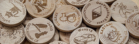 Geokes com - Wooden Coins - geocaching & geocoin shop